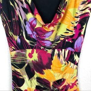 Cache Dresses - Cache vibrant floral ruched midi dress